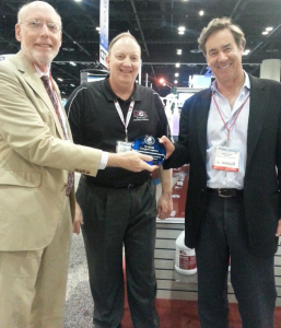 Green Seal President and CEO Arthur Weissman (left), NCL Vice-President of Sales and Marketing Bill Smith (center), and NCL President/CEO Harry Pollack (right) at ISSA-INTERCLEAN in Orlando, Florida (11/25/2014)